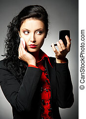 Businesswoman - Young Business woman wearing red shirt and...