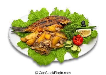 whole griled dorada fish, with baked potato, mushrooms and...