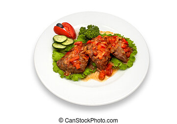 grilled veal fillet with vegetable salad sauce