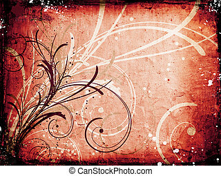 Floral grunge background - Floral design on grunge...