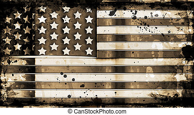 Grunge stars and stripes - American flag on grunge...