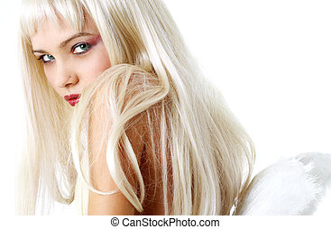 looking angel - portrait of lovely blond with angel wings
