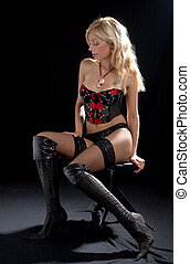 cabaret blond in corset #2 - lovely blond in corset over...