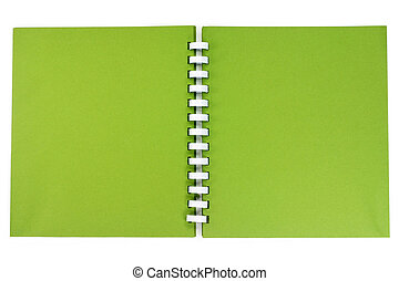a spiral notebook - A green cover of a spiral notebook