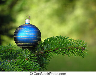 christmas decoration - Blue Christmas bauble with circular...