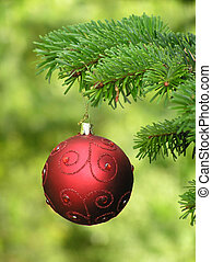 christmas decoration - Red and golden Christmas bauble with...