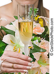 WEDDING TOAST - Hand of the bride with a glass