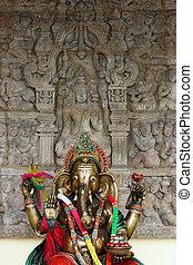Buddhist shrine in Phuket, Thailand featuring elephant image
