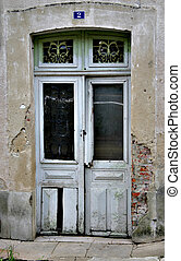 Old French Door - An old door on a derelict French country...