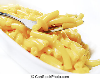 Macaroni and Cheese 1 - Close-up of macaroni and cheese on a...