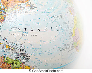 Atlantic Ocean - Close up of a globe, focused on Atlantic...