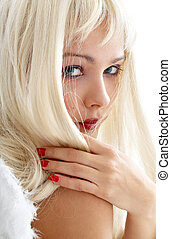 looking angel #2 - portrait of lovely blond with angel wings