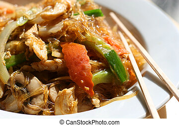 Asian Noodles 2 - Colorful dish of asian rice noodles in...