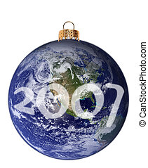 Happy New Planet 2007 - Isolated Christmas ornament in the...