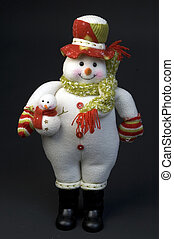 snow man woman with child with wool cap and scarf