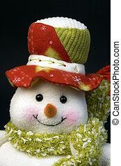 snow man with wool cap and scarf