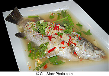 Steamed seabass - Seabass steamed in lime sauce Thai-style