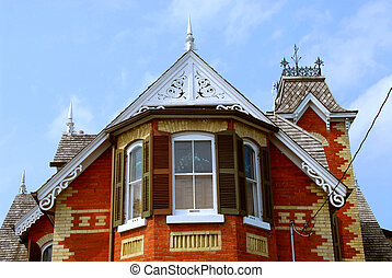 Victorian house - Fragment of a beautiful red brick...