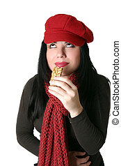Delicious Diet foods - Mmmm, a woman enjoys a health food...