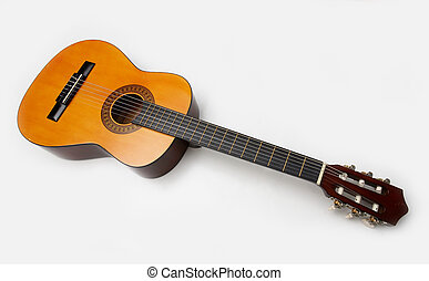 Acoustic guitar isolated over white