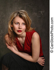 Natalia\\\'s portrait - Portrait of the girl in a red dress...