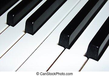 Piano keyboard in close