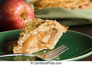 american apple pie - slice of fresh traditional american...