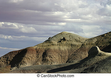 Painted Desert Sky - Hills of the western Painted Desert in...