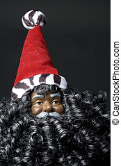 black santa claus with bushy beard and hat