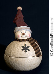 ceramic snow man cookie jar with hat and scarf