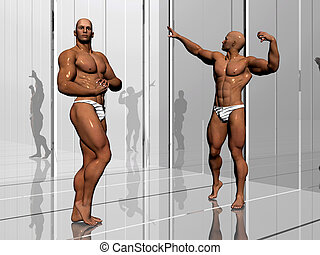 Body building, lifestyle. - 3d illustration, body builders...