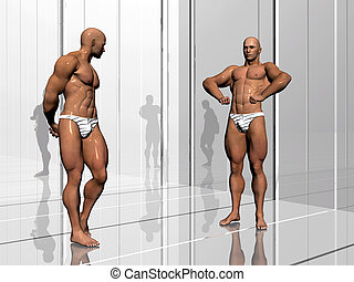 Body building, lifestyle - 3d illustration, body builders on...
