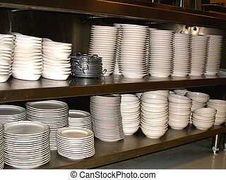 Dishes - This is a picture of dishes in a restaurant ready...
