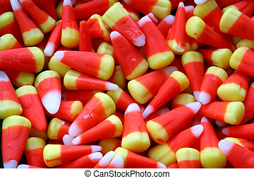 Candy Corn - A Close-up of Candy Corn Creates a Halloween...