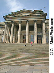 Woman Filming Dancer on Steps of Liverpool Museum England