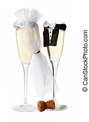 Wedding Champagne - Champagne glasses all dressed up for a...