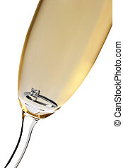 Wedding Champagne - Champagne glass with diamond engagement...