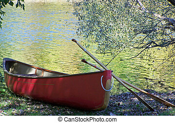 Red Canoe with paddles sitting on a rivers edge.
