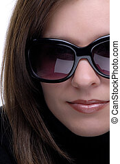 Sunglasses - Close Up Half Face Of A Beautiful Brunette,...