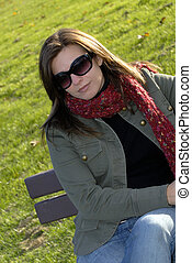 Sunny Afternoon - Beautiful Brunette Enjoying A Fall...