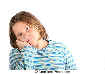 sad preteen - Sad preteen girl looking at camera with upset...