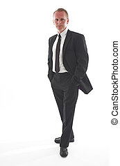 Black suited guy - Man in his thirties wearing a smart black...