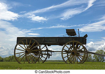 Antique buckboard sky background in open field