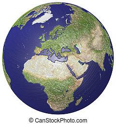 Plasticized globe - The earth change into plastic