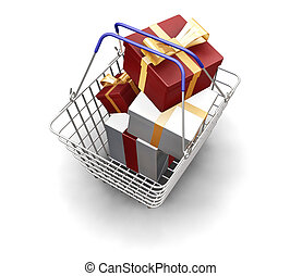 Christmas presents - 3D render of a shopping basket full of...