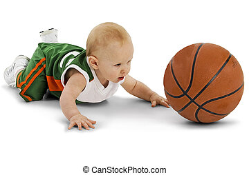 Basketball Player - Baby boy with basket ball over white