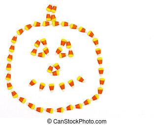 Halloween candy corn pumpkin - pumpkin face mad with candy...