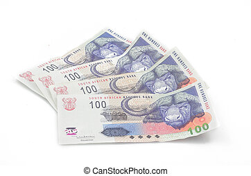 South African money - South African one hundred notes spread...