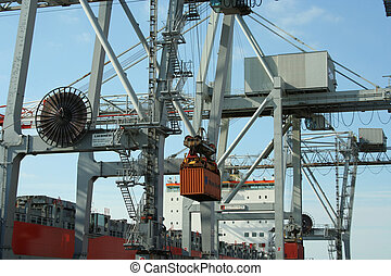 Container Cranes 1 - Container cranes unloading a ship
