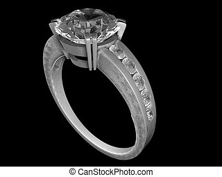 Engagement ring - A diamond-studded engagement ring